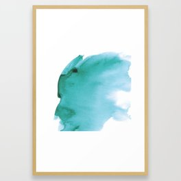 Turquoise Watercolor Splash, Abstract Colorful Ink Splatter Framed Art Print