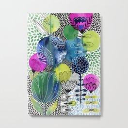 Indigo Blooms Metal Print