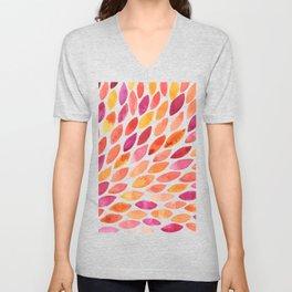 Watercolor brush strokes burst - autumn palette Unisex V-Neck