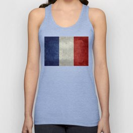 Flag of France, vintage retro style Unisex Tank Top