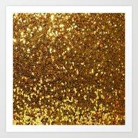 gold glitter Art Prints featuring GOLD GLITTER by I Love Decor