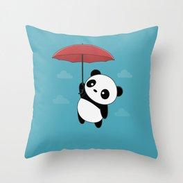 Kawaii Cute Panda With Umbrella Throw Pillow