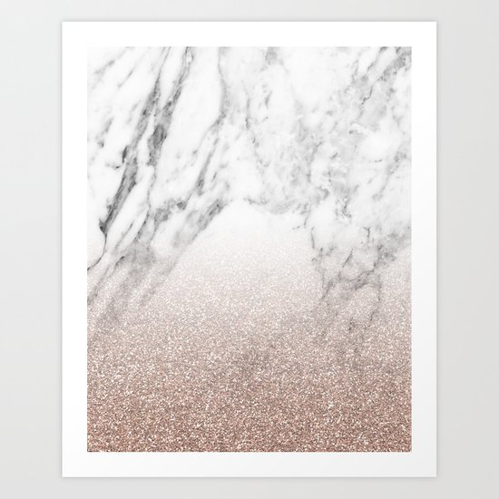 Marble sparkle rose gold Art Print