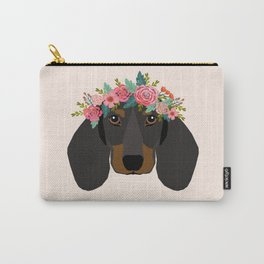 Dachshund floral crown dog breed pet art dachshunds doxie pupper gifts Carry-All Pouch