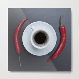 Coffee cup and red chili peppers Metal Print