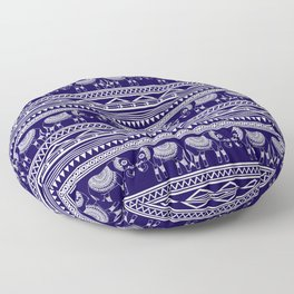 White and Navy Blue Elephant Pattern Floor Pillow