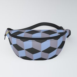 Diamond Repeating Pattern In Black Blue and Heather Fanny Pack