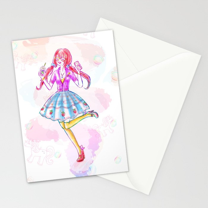 Pastel Unicorn Frap Girl Stationery Cards