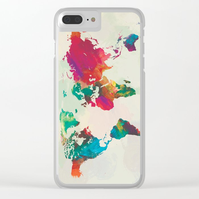 Watercolor world map clear iphone case by champagne society6 watercolor world map clear iphone case gumiabroncs Choice Image