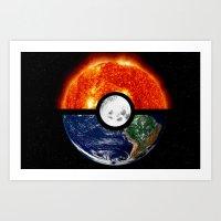 pokeball Art Prints featuring Galaxy Pokeball by Advocate Designs
