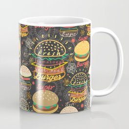 Graphic seamless pattern bright tasty burgers on a dark background Coffee Mug