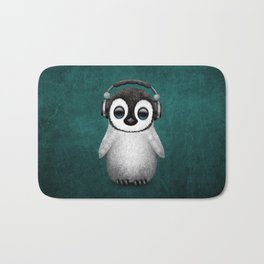 Cute Baby Penguin Dj Wearing Headphones on Blue Bath Mat