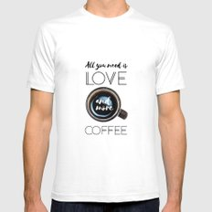 Love & Coffee SMALL Mens Fitted Tee White