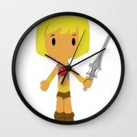 he man Wall Clocks featuring MUSCLOR AKA HE-MAN by Christophe Chiozzi