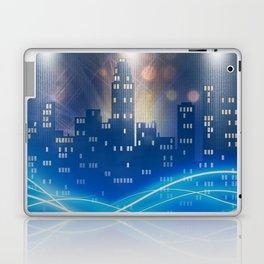 Neon city skyline by night metallic look print Laptop & iPad Skin