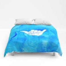 Surf Hang Loose Hawaiian Ocean Blue Hip Watercolor Comforters