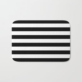 Black White Stripe Minimalist Bath Mat