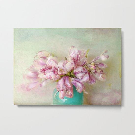 bouquet tulips in blue vase Metal Print