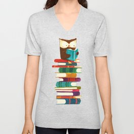 Owl Reading Rainbow Unisex V-Neck
