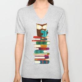 Owl Reading Rainbow Unisex V-Neck