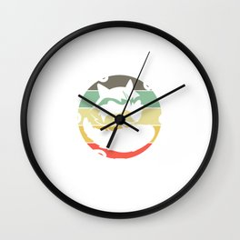"""Retro Tee For Animal Lovers With A Cute Illustration Of A Raccoon """"Support Your Local Street Cats"""" Wall Clock"""