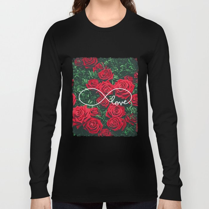 Red Roses Photography & Infinity Love Sign Long Sleeve T-shirt