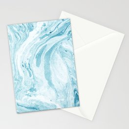 Ocean Blue Marble Print Stationery Cards