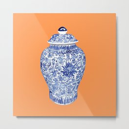 GINGER JAR ON TANGERINE  Metal Print