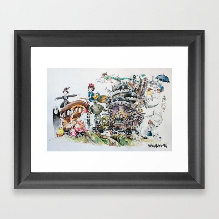 Studio Ghibli Ultimate Watercolour Painting (with all the characters and movies) Gerahmter Kunstdruck