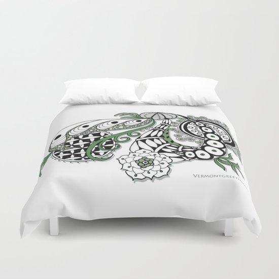 Zentangle Design - Black, White and Sage Illustration Duvet Cover