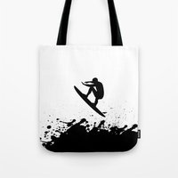 surfer Tote Bags featuring Surfer by Emir Simsek