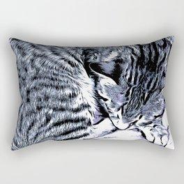 Cute Tabby Kitten Nap Rectangular Pillow