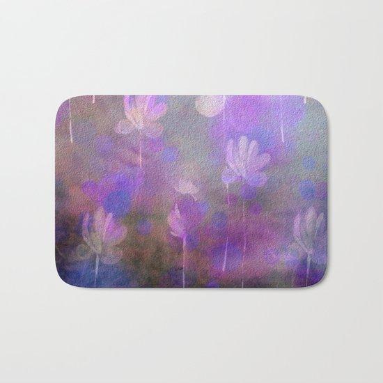 Painterly Dancing Violets Abstract Bath Mat