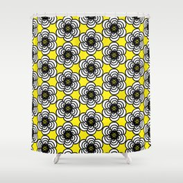 Yellow and Black Flowers Shower Curtain