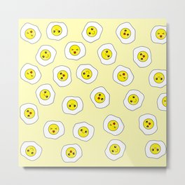 Sunny Side Up Pattern - Yellow Metal Print