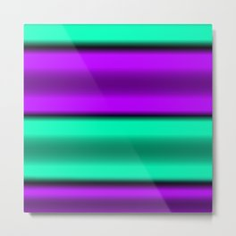Purple & Mint Horizontal Stripes Metal Print