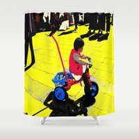 cycling Shower Curtains featuring Cycling by lookiz