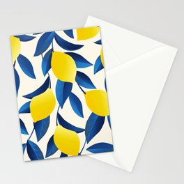 Yellow Limons and Blue Leaves Stationery Cards