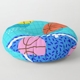 All Day - basketball sports memphis retro throwback neon trendy colors athletic art design Floor Pillow