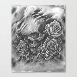 Skull and Roses by Fwa Xiong Canvas Print