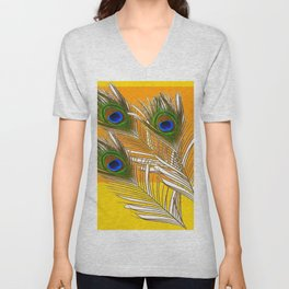 3 GREEN PEACOCK FEATHERS YELLOW ABSTRACT ART Unisex V-Neck