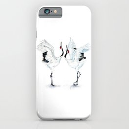 Dancing Japanese Red-crowned crane iPhone Case
