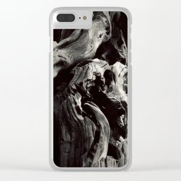 Black and White Tree Bark and Roots Outdoor Nature Photograph Clear iPhone Case