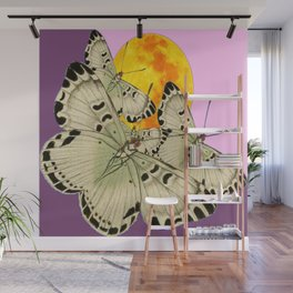 GOLDEN MOON MOTHS ON PUCE & PINK Wall Mural