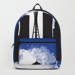 Seattle skyline silhouette Backpack