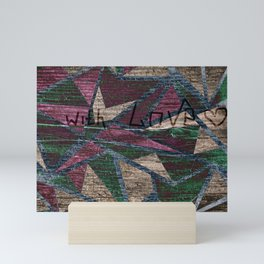 The old boards . The pattern on the old boards and burning . With Love . Mini Art Print