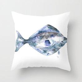 Flat Fish Watercolor Throw Pillow