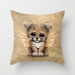 Cute Baby Cheetah Cub with Fairy Wings Throw Pillow