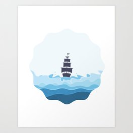 Pirates on the sea Art Print