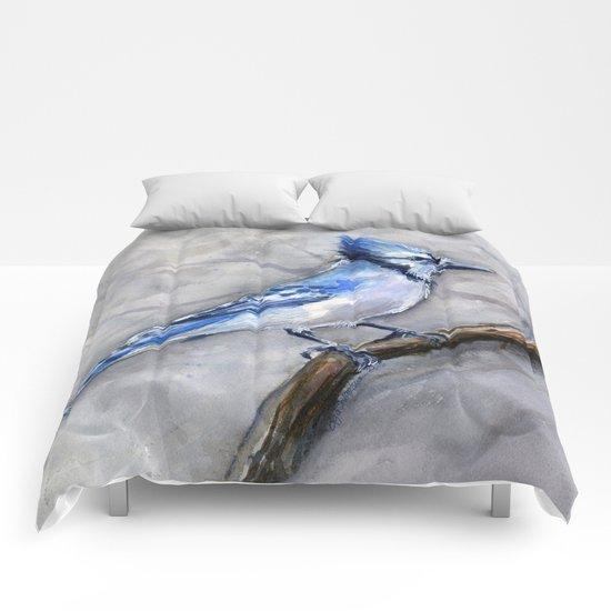 Blue Jay Watercolor Bird Comforters
